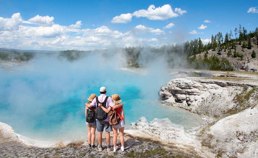 Wanderung Familie Yellowstone Nationalpark